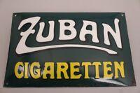 Emailschild Zuban Zigaretten München Werbung Reklame gewölbt zuckergussartig