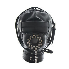 Soft Leather Gimp Full covered Mask Hood with openable cover plug restraint