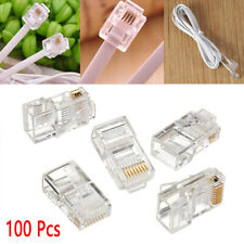 100x RJ45 Network LAN CAT5e Cat6 Patch Cable End Crimp Plug Connector GOLD Pins