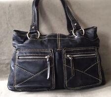 Tignanello  Shoulder Bag Tote  Black Leather  Double Strap  Silvertone Hardware