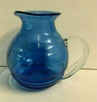 Vintage Blenko Blue Pitcher Hand Blown Art Glass Signed Richard  8 inch tall