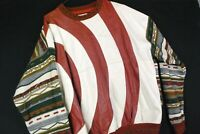 Vintage 90s Bagazio Leather 3D Abstract Crewneck Sweater Knit Cosby Biggie Mens