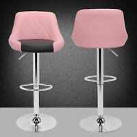 Bar Stools Pub Kitchen Chair Counter Height PU Swivel Adjustable Pink&Black