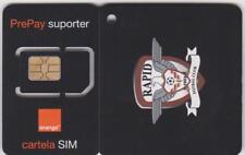 ROMANIA = VINTAGE ORANGE FOOTBALL SIM CARD + KEY RING = FC RAPID BUCHAREST= MINT