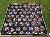 "ANTIQUE Hand Stitched DRESDEN PLATE Quilt 56"" X 53 1/2"" APPROX."