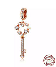 Sterling Silver Rose Gold Sparkling Cz Key Pendant Charm