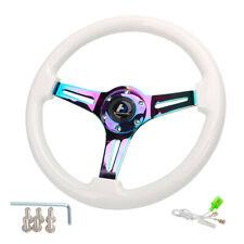 "Hiwowsport Universal 14"" White Wood Grain Steering Wheel 6 Bolts 1.75"" Dish Wood"