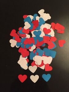 Over 300 Red White& Blue Romantic Hearts-wedding table confetti-engagement