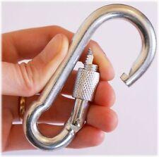 2 x SCREW LOCK SNAP HOOK Carabiner Clip, 11mm x 120mm Long, WL 450kg, HEAVY DUTY
