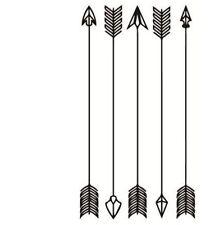 Mini planche de 5 Tatouages éphémères flèches indienne waterproof. Tatoo noir
