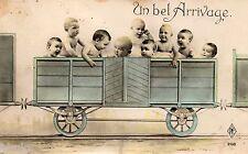 BL101 Carte Photo vintage card RPPC Enfant fantaisie train wagon arrivage bébé