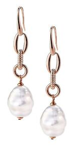 Authentic JOIA De Majorca White Barrel Pearl Small Hook Earrings With Links