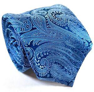 Jeff Banks Mens Tie 100% Silk Blue Paisley Pattern Design Necktie