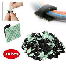 30Pcs/kit Self Adhesive Stick-on Cable Ties Wire Cable Base Clamp Clip Holder UK