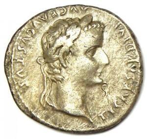 Ancient Roman Tiberius AR Denarius Silver Tribute Penny Coin 14-37 AD. Good VF