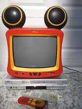 """Disney Dt1350-C 19"""" Mickey Mouse Tv W/ Remote & Jvc Dvd Vcr Combo W/ Remote"""