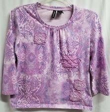 Jason Maxwell Purple 3/4 Sleeve Knit Top Size S