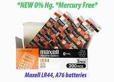200 **MAXELL** LR44 A76 L1154 AG13 357 SR44 303 Battery New mercury FREE