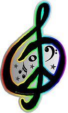 "1-4""x 6.5"" G Clef Peace Sign Decal Sticker World Music Rainbow Band Car  2116"