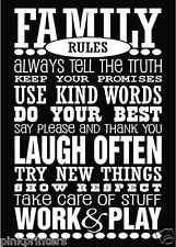 Family Rules Canvas Print - Large 71cm x 50cm - New