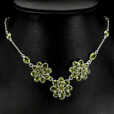 Sterling Silver 925 Genuine Natural Apple Green Peridot Cluster Necklace 19 Inch