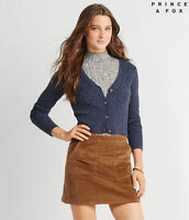 NEW Aeropostale Prince & Fox Blue Ribbed Cropped Cardigan Sweater (A1-21)