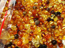 NATURAL ROUND BALTIC AMBER HOLED LOOSE BEADS 10gr.(ABOUT 80-90pcs)