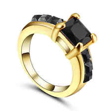 Size 9 Classic Square Black Sapphire Wedding Ring 10KT Yellow Gold Filled Band