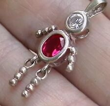 Vintage Sterling Silver Charm Bright Pink Crystal Birthstone Movable Child Girl
