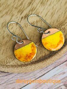 Copper Enamel Earrings, Copper And Silver Jewellery, Low Temperature Enamel, Sum