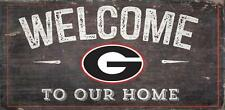 """Georgia Bulldogs Welcome to our Home - Wood Sign NEW 12"""" x 6"""" Decoration Gift"""