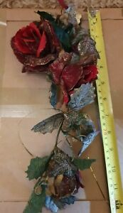 Christmas Artificial Foilage Glittered Rose Ivy & Berries