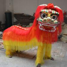 2018 Wool Yellow Lion Chinese Folk Lion Mascot Dance Costume Art For Two Adults