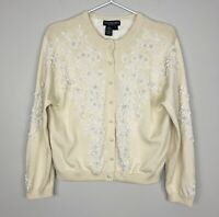 J. Peterman Women's Cream Floral Beaded Pearl Button Front Cardigan Lined Medium
