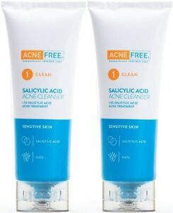 AcneFree Sensitive Salicylic Acid Acne Cleanser Wash 4 x 2 = 8 oz (2 PACK)