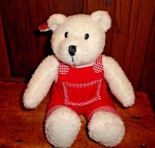 """Papel Pals Bear Red & White Overalls Plush Stuffed Animal 12"""" Tags Valentine"""