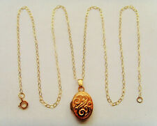 9ct Gold Oval Locket Complete With Chain