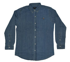 Mens Polo Ralph Lauren Slim Fit Long Sleeve Shirts - Denim Medium Wash Small