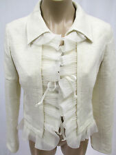 VALENTINO Off White Raw Silk Cropped Jacket w/ Organza Ruffles - NWT $3250 - 40