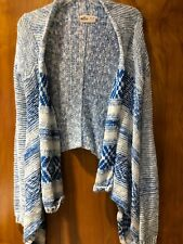 Hollister XS/S Asymmetrical Blue/White Cardigan