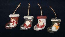Christmas Stocking Ornament - Metal Set of 4