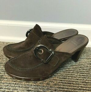 Stuart Weitzman Women's Mules Size 7.5 M Brown Suede Heels Slip On Studded Shoes