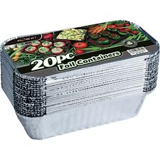 20 x Aluminium Foil Takeaway Food Cooking Containers + Lids (200mm x110mm x51mm)