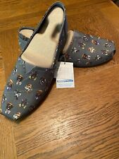 New Bobs Puppy Love Gray Skechers Memory Foam Dogs Canvas Shoes Flats Sz 12