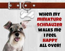 "Miniature Schnauzer When My Dog Walks Me Fridge Magnet 4.5"" x 3.5"""
