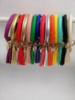 Leather O Keychain Custom Circle Tassel Wristlet Bracelet Key Ring Wrist Strap