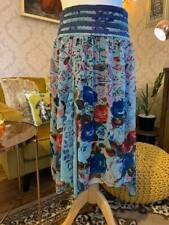 Joe Browns Size 16 Boho Blue Chiffon Floral Pattern Handkerchief Hem CircleSkirt