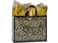 LEOPARD SAFARI Plastic VOGUE Size Frosted Gift Bag Choose Tissue & Pack Amount