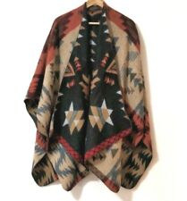 Poncho Shawl Wrap Geometric Aztec Reversible One Size