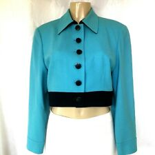 Vintage Christian Dior Blazer Jacket Wool Turquoise Blue Cropped Color block 12